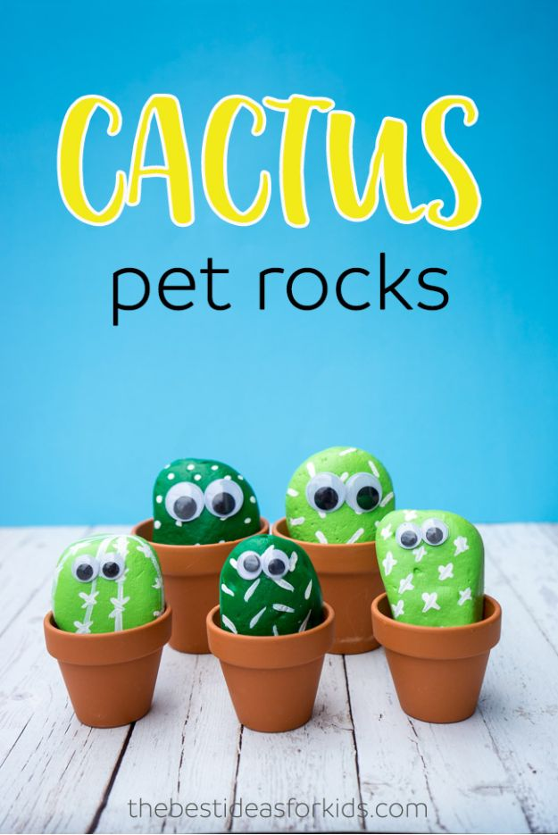 Easy Crafts for Kids - Pet Cactus Rocks - Quick DIY Ideas for Children - Boys and Girls Love These Cool Craft Projects - Indoor and Outdoor Fun at Home - Cheap Playtime Activities #kidscrafts