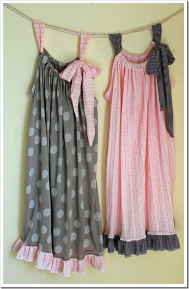 DIY Nightgowns and Sleepwear - Pillowcase Night Gown - Easy Sewing Projects for Cute Nightshirts, Tshirts, Gowns and Pajamas - Free Patterns and Step by Step Tutorials https://diyjoy.com/diy-nightgowns-sleepwear