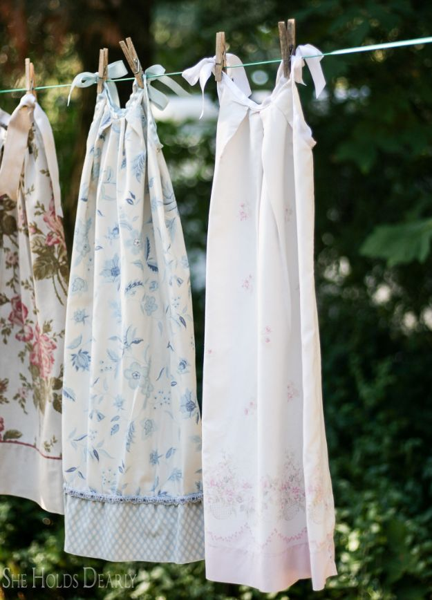 DIY Nightgowns and Sleepwear - Pillowcase Nightie - Easy Sewing Projects for Cute Nightshirts, Tshirts, Gowns and Pajamas - Free Patterns and Step by Step Tutorials #womensclothing #sleepwear #diyclothes #sewing
