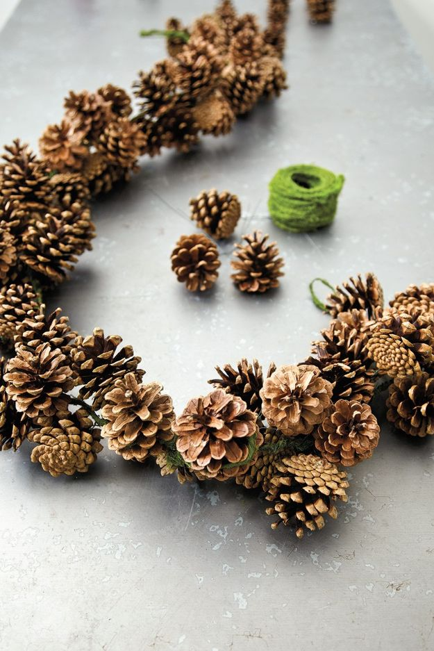 DIY Christmas Decorations - Pinecone Garland - Easy Handmade Christmas Decor Ideas - Cheap Xmas Projects to Make for Holiday Decorating - Home, Porch, Mantle, Tree, Lights #diy #christmas #diydecor #holiday