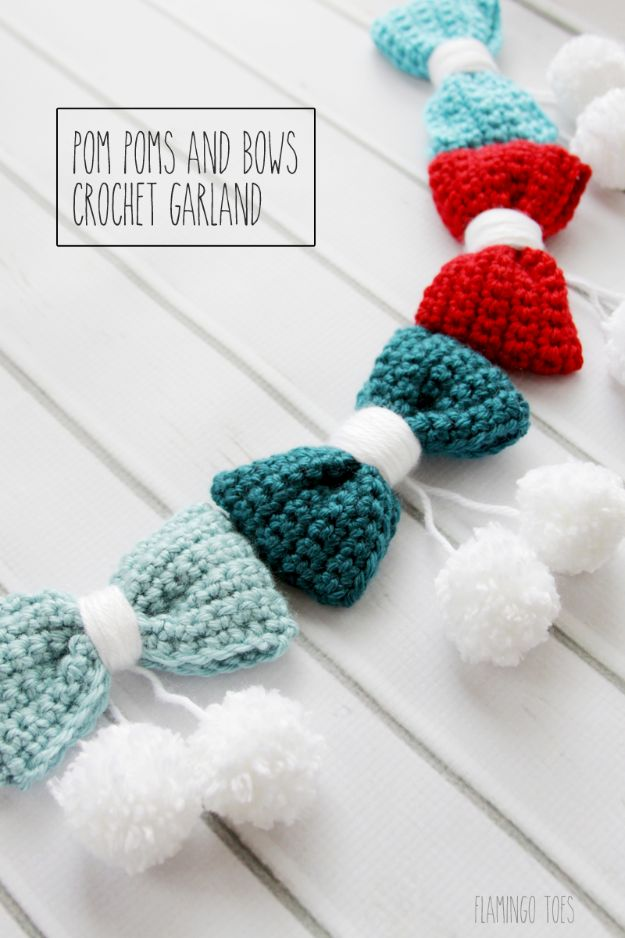 DIY Christmas Decorations - Pom Poms and Bows Crochet Garland - Easy Handmade Christmas Decor Ideas - Cheap Xmas Projects to Make for Holiday Decorating - Home, Porch, Mantle, Tree, Lights #diy #christmas #diydecor #holiday