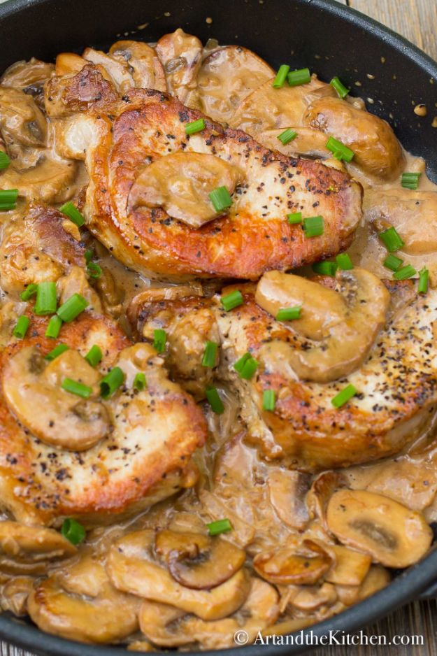 Pork Chop Recipes - Pork Chops with Brandy Mushroom Sauce - Best Recipe Ideas for Pork Chops - Healthy Baked, Grilled and Crockpot Dishes - Easy Boneless Skillet Chops #recipes #porkrecipes #porkchops