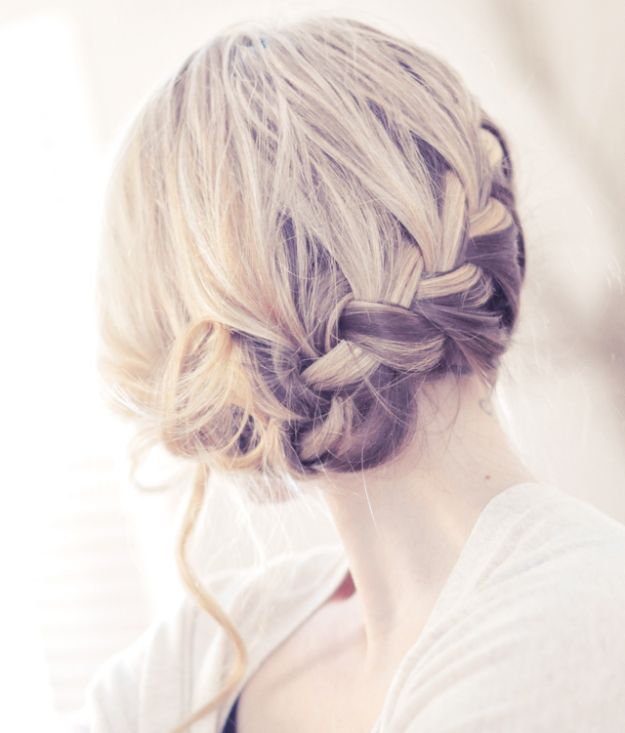 Holiday Hairstyles - Pretty Side French Braid Updo - Cute DIY Hair Styles for Christmas and New Years Eve, Special Occasion - Updos, Braids, Buns, Ponytails, Half Up Half Down Looks  #hairstyles