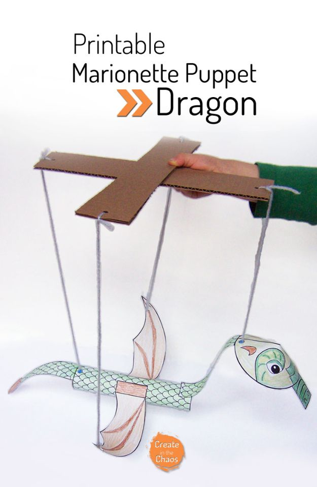 Easy Crafts for Kids - Printable Dragon Marionette - Quick DIY Ideas for Children - Boys and Girls Love These Cool Craft Projects - Indoor and Outdoor Fun at Home - Cheap Playtime Activities #kidscrafts