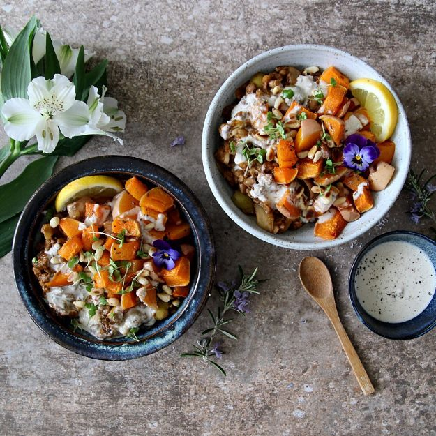 Vegan Recipes - Quick Harissa Lentils with Roast Squash and Tahini Dressing - Easy, Healthy Plant Based Foods - Gluten Free Breakfast, Lunch and Dessert - Keto Diet for Beginners  #vegan #veganrecipes