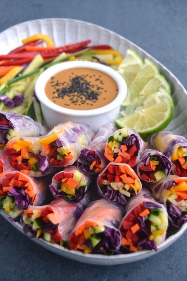 Vegan Recipes - Rainbow Veggie Spring Rolls with Peanut Dipping Sauce - Best Vegan Recipe Ideas - Easy, Healthy Plant Based Foods - Gluten Free Breakfast, Lunch and Dessert - Keto Diet for Beginners  #vegan #veganrecipes