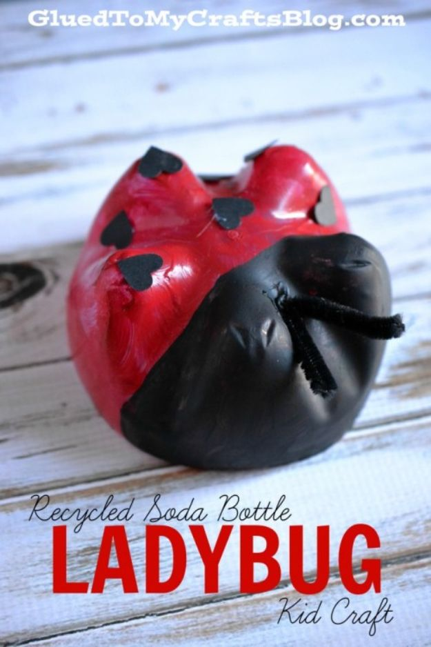 Easy Crafts for Kids - Recycled Soda Bottle Ladybug - Quick DIY Ideas for Children - Boys and Girls Love These Cool Craft Projects - Indoor and Outdoor Fun at Home - Cheap Playtime Activities https://diyjoy.com/best-easy-crafts-for-kids