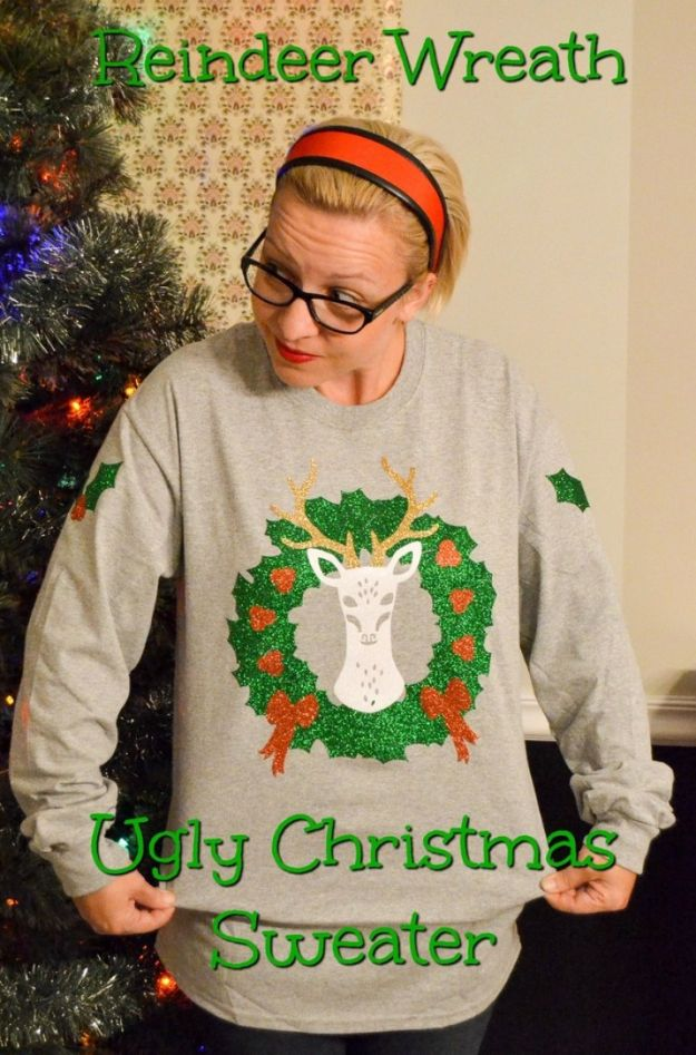 DIY Ugly Christmas Sweaters - Reindeer Wreath Ugly Christmas Sweater - No Sew and Easy Sewing Projects - Ideas for Him and Her to Wear to Holiday Contest or Office Party Outfit - Funny Couples Sweater, Mens Womens and Kids #christmas