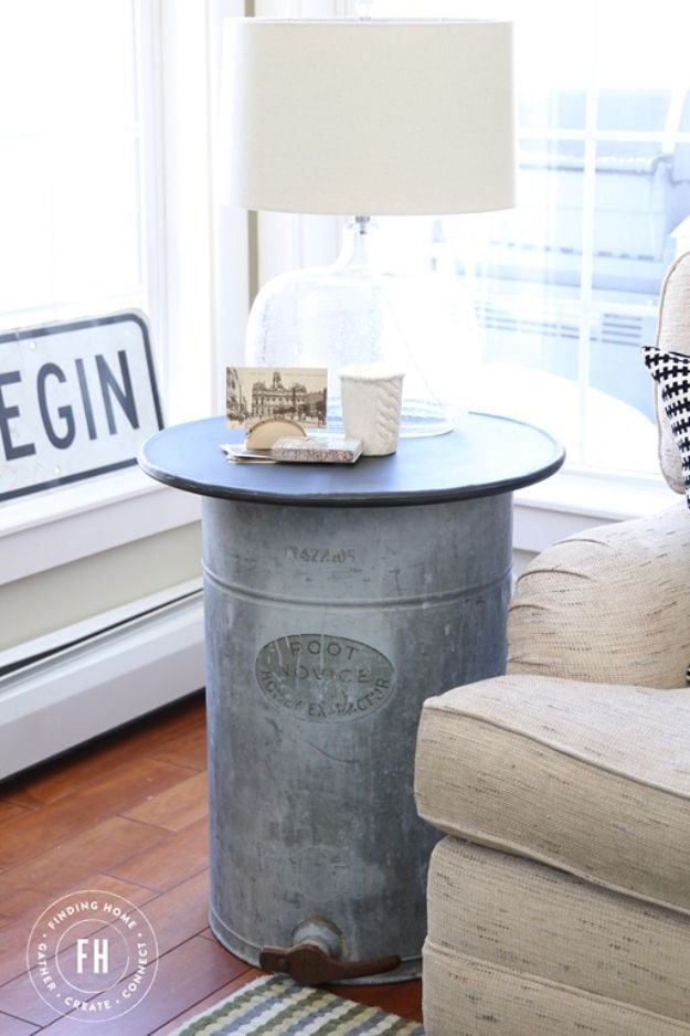 Magnolia Homes Decor Ideas - Repurposed Galvanized Side Table - DIY Decor Inspired by Chip and Joanna Gaines - Fixer Upper Dining Room, Coffee Tables, Light Fixtures for Your House - Do It Yourself Decorating On A Budget With Farmhouse Style Decorations for the Home