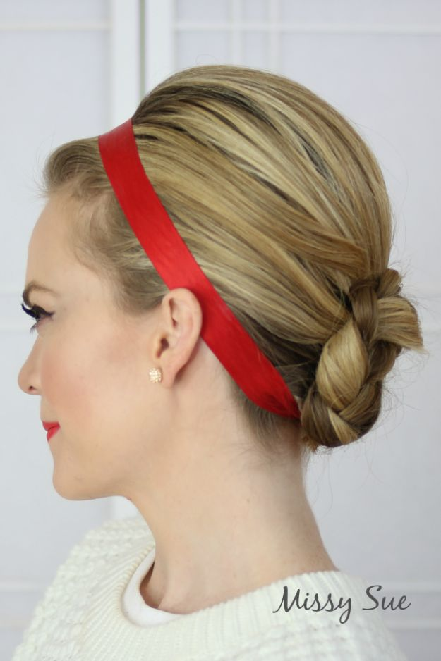 Holiday Hairstyles - Ribbon Wrapped Braided Bun - Cute DIY Hair Styles for Christmas and New Years Eve, Special Occasion - Updos, Braids, Buns, Ponytails, Half Up Half Down Looks #hairstyles