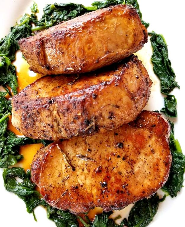 Pork Chop Recipes - Rosemary Garlic Butter Pork Chops - Best Recipe Ideas for Pork Chops - Healthy Baked, Grilled and Crockpot Dishes - Easy Boneless Skillet Chops #recipes #porkrecipes #porkchops