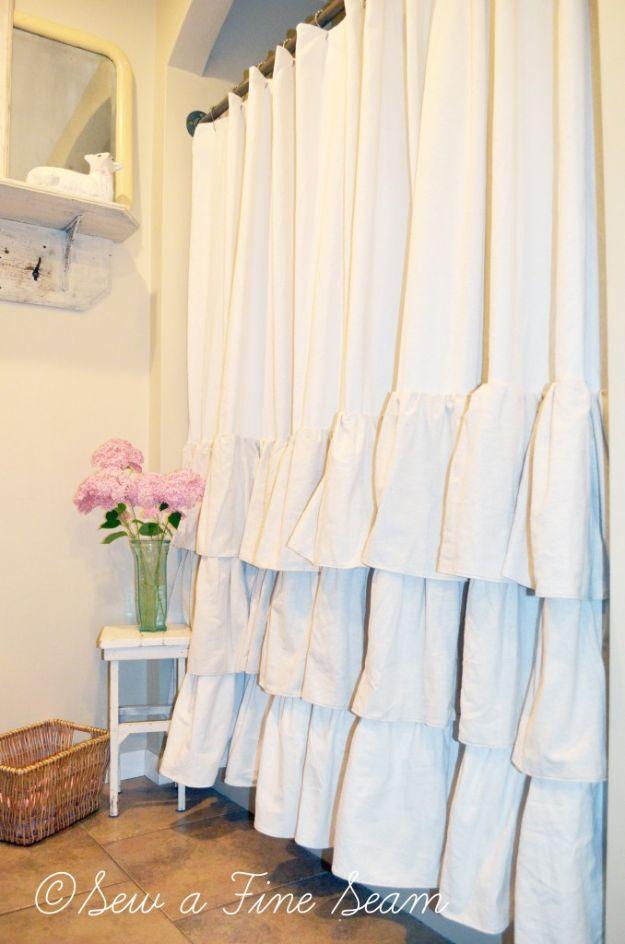 Cheap Bathroom Decor Ideas - Ruffled Shower Curtain - DIY Decor and Home Decorating Ideas for Bathrooms - Easy Wall Art, Rugs and Bath Mats, Shower Curtains, Tissue and Toilet Paper Holders #diy #bathroom #homedecor