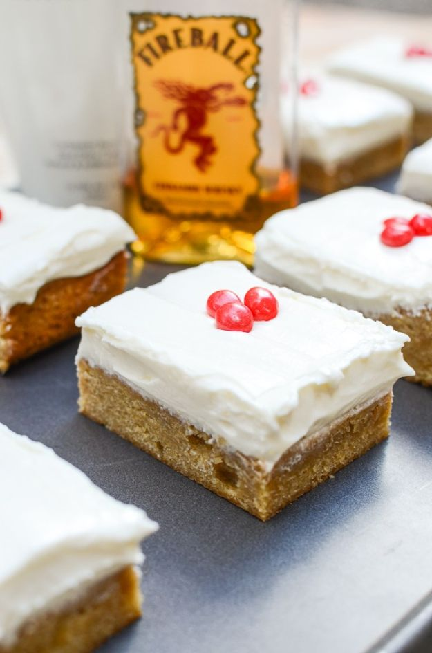 Fireball Whiskey Recipes - RumChata Blondies with Fireball Cream Cheese Frosting - Fire ball Whisky Recipe Ideas - Pie, Desserts, Drinks, Homemade Food and Cocktails - Easy Treats and Christmas Dishes #fireball #bestrecipes https://diyjoy.com/fireball-whiskey-recipes