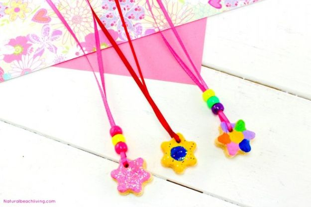 Easy Crafts for Kids - Salt Dough Recipe Ornaments & Necklaces - Quick DIY Ideas for Children - Boys and Girls Love These Cool Craft Projects - Indoor and Outdoor Fun at Home - Cheap Playtime Activities #kidscrafts