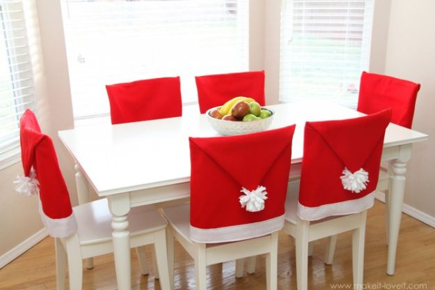 DIY Christmas Decorations - Santa Hat Chair Covers - Easy Handmade Christmas Decor Ideas - Cheap Xmas Projects to Make for Holiday Decorating - Home, Porch, Mantle, Tree, Lights #diy #christmas #diydecor #holiday