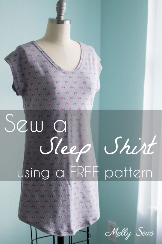 DIY Nightgowns and Sleepwear - Sew A Sleep Shirt - Easy Sewing Projects for Cute Nightshirts, Tshirts, Gowns and Pajamas - Free Patterns and Step by Step Tutorials #womensclothing #sleepwear #diyclothes #sewing