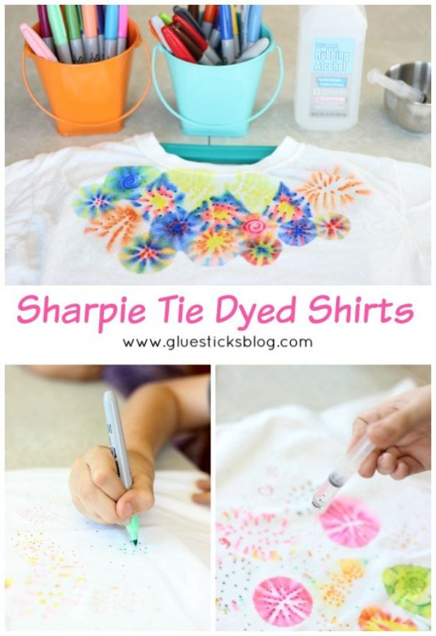 Easy Crafts for Kids - Sharpie Tie Dyed Shirts - Quick DIY Ideas for Children - Boys and Girls Love These Cool Craft Projects - Indoor and Outdoor Fun at Home - Cheap Playtime Activities #kidscrafts