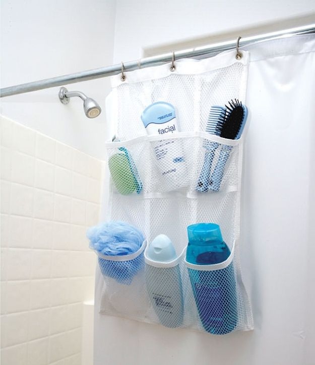 Cheap Bathroom Decor Ideas - Shower Pocket Organizer - DIY Decor and Home Decorating Ideas for Bathrooms - Easy Wall Art, Rugs and Bath Mats, Shower Curtains, Tissue and Toilet Paper Holders #diy #bathroom #homedecor