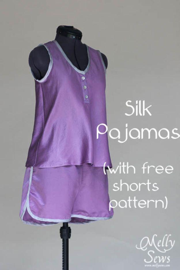 DIY Nightgowns and Sleepwear - Silk Pajamas - Easy Sewing Projects for Cute Nightshirts, Tshirts, Gowns and Pajamas - Free Patterns and Step by Step Tutorials #womensclothing #sleepwear #diyclothes #sewing