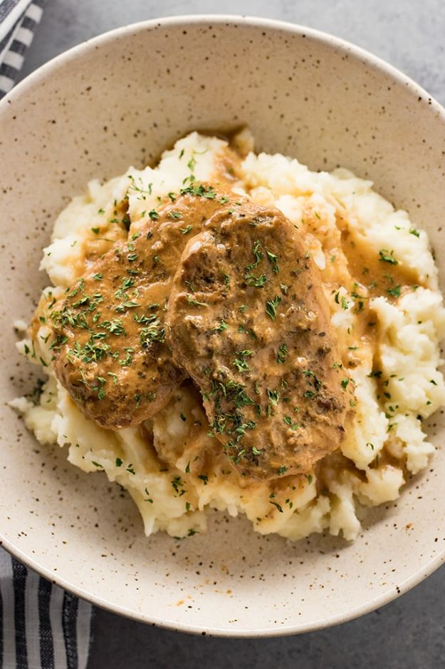 Pork Chop Recipes - Slow Cooker Pork Chops - Best Recipe Ideas for Pork Chops - Healthy Baked, Grilled and Crockpot Dishes - Easy Boneless Skillet Chops #recipes #porkrecipes #porkchops
