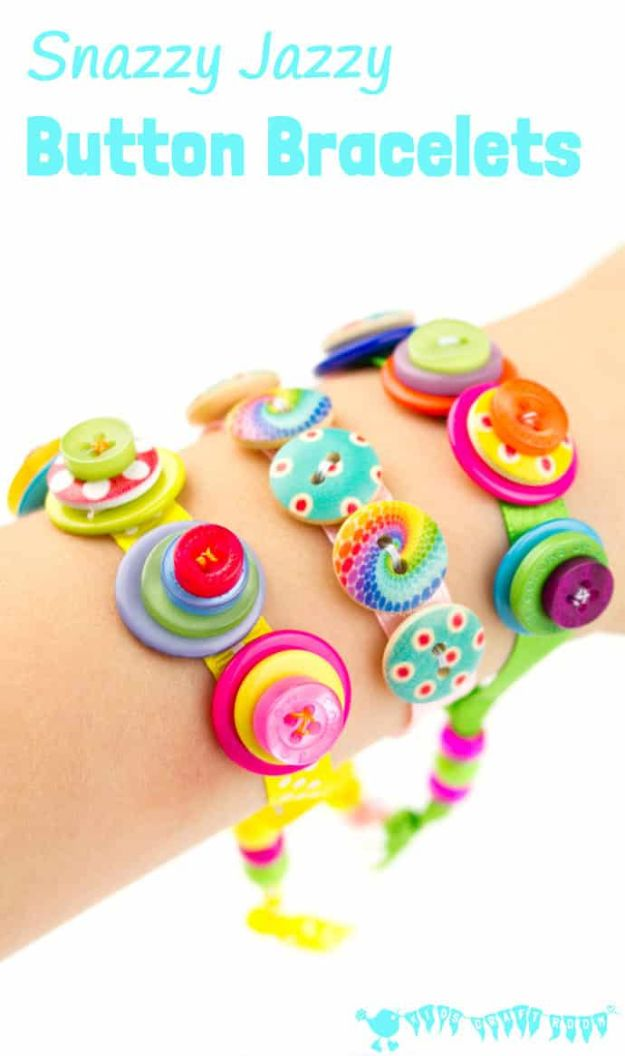 Easy Crafts for Kids - Snazzy Jazzy Button Bracelets - Quick DIY Ideas for Children - Boys and Girls Love These Cool Craft Projects - Indoor and Outdoor Fun at Home - Cheap Playtime Activities #kidscrafts