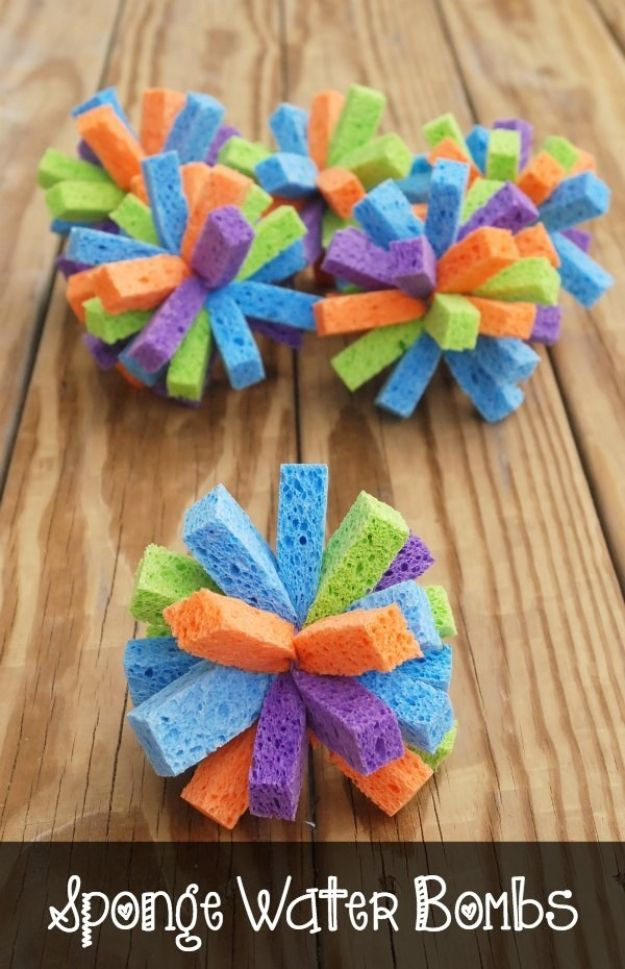 Easy Crafts for Kids - Sponge Water Bombs - Quick DIY Ideas for Children - Boys and Girls Love These Cool Craft Projects - Indoor and Outdoor Fun at Home - Cheap Playtime Activities #kidscrafts