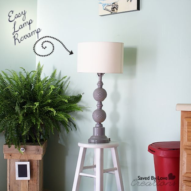 DIY Lighting Ideas - Spray Paint Lamp Makeover - Indoor Lighting for Bedroom, Kitchen, Bathroom and Home - Outdoor Do It Yourself Lighting Ideas for the Backyard, Patio, Porch Lights, Chandeliers, Lamps and String Lights https://diyjoy.com/diy-lighting-projects