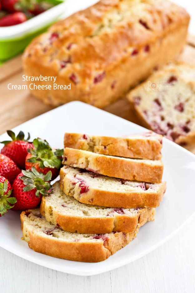 Breakfast Breads - Strawberry Cream Cheese Bread - Homemade Breakfast Bread Recipes - Healthy Fruit, Nut, Banana and Vegetable Recipe Ideas - Best Brunch Dishes #breakfastrecipes #brunch https://diyjoy.com/breakfast-bread-recipes