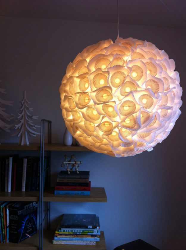 DIY Lighting Ideas - Structural Paper Orb Lights - Indoor Lighting for Bedroom, Kitchen, Bathroom and Home - Outdoor Do It Yourself Lighting Ideas for the Backyard, Patio, Porch Lights, Chandeliers, Lamps and String Lights https://diyjoy.com/diy-lighting-projects