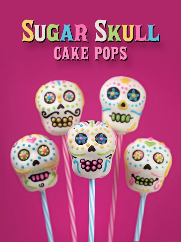 Cake Pop Recipes and Ideas - Sugar Skull Cake Pops - Easy Recipe for Chocolate, Funfetti Birthday, Oreo, Red Velvet - Wedding and Christmas DIY #dessertrecipes #cakepops https://diyjoy.com/cake-pop-recipes