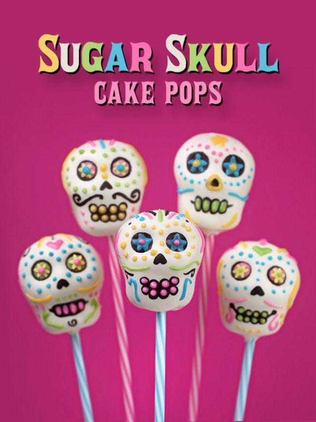 Cake Pop Recipes and Ideas - Sugar Skull Cake Pops - Easy Recipe for Chocolate, Funfetti Birthday, Oreo, Red Velvet - Wedding and Christmas DIY #dessertrecipes #cakepops https://diyjoy.com/cake-pop-recipes