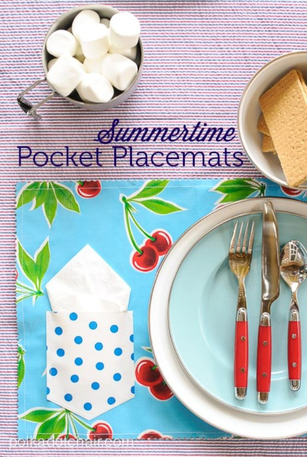 Easy Sewing Projects To Sew For Gifts - Summertime Pocket Placemats - Simple Sewing Tutorials and Free Patterns for Making Christmas and Birthday Presents - Cheap Ideas to Make and Sell on Etsy