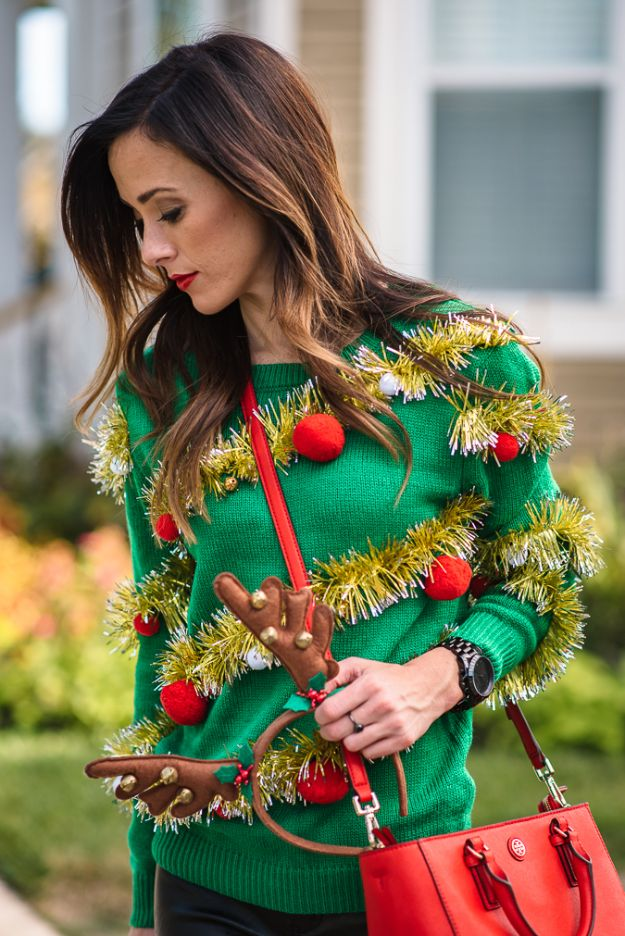DIY Ugly Christmas Sweaters - Tacky Christmas Sweater - No Sew and Easy Sewing Projects - Ideas for Him and Her to Wear to Holiday Contest or Office Party Outfit - Funny Couples Sweater, Mens Womens and Kids #christmas