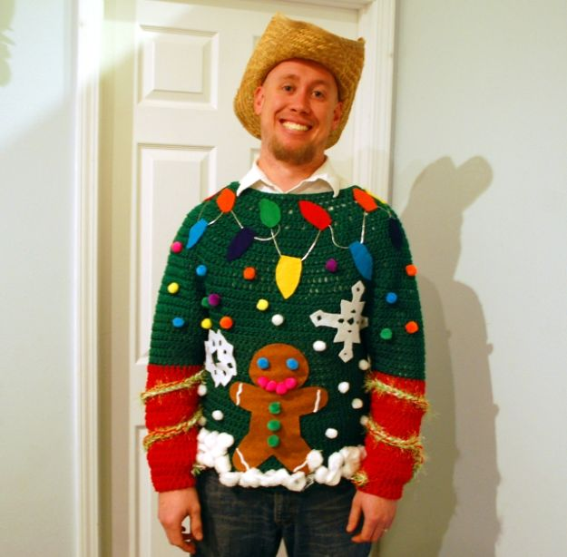 DIY Ugly Christmas Sweaters - Tacky Gingerbread Man - No Sew and Easy Sewing Projects - Ideas for Him and Her to Wear to Holiday Contest or Office Party Outfit - Funny Couples Sweater, Mens Womens and Kids #christmas