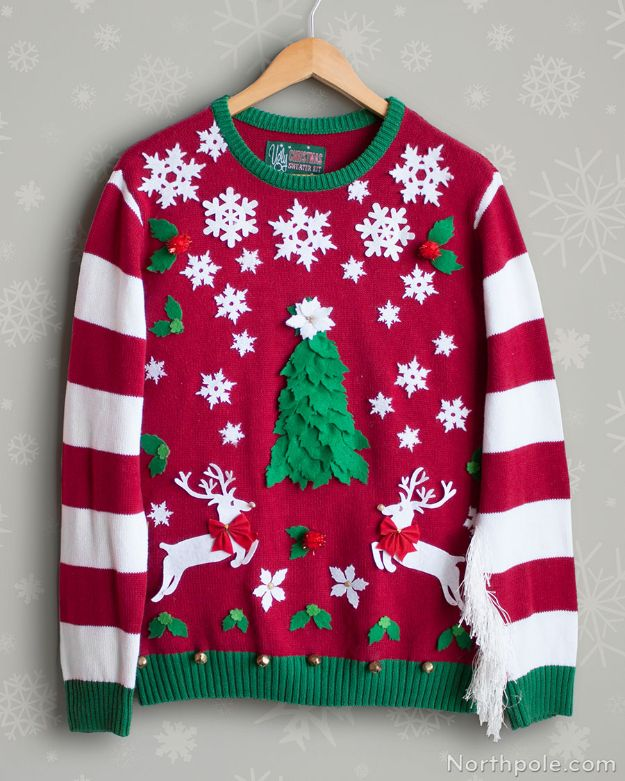 DIY Ugly Christmas Sweaters - Temporary Ugly Christmas Sweater Stickers - No Sew and Easy Sewing Projects - Ideas for Him and Her to Wear to Holiday Contest or Office Party Outfit - Funny Couples Sweater, Mens Womens and Kids #christmas