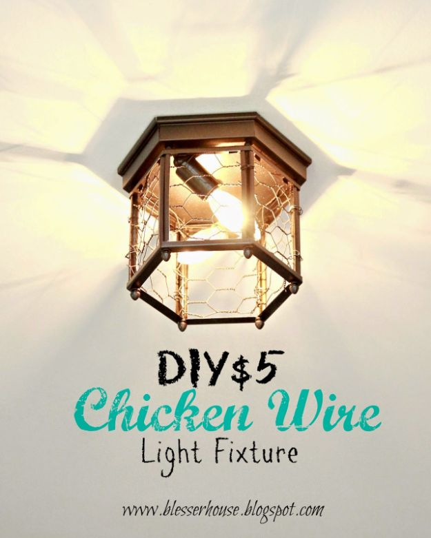 DIY Lighting Ideas - Thrifted Chicken Wire Light Fixture - Indoor Lighting for Bedroom, Kitchen, Bathroom and Home - Outdoor Do It Yourself Lighting Ideas for the Backyard, Patio, Porch Lights, Chandeliers, Lamps and String Lights https://diyjoy.com/diy-lighting-projects