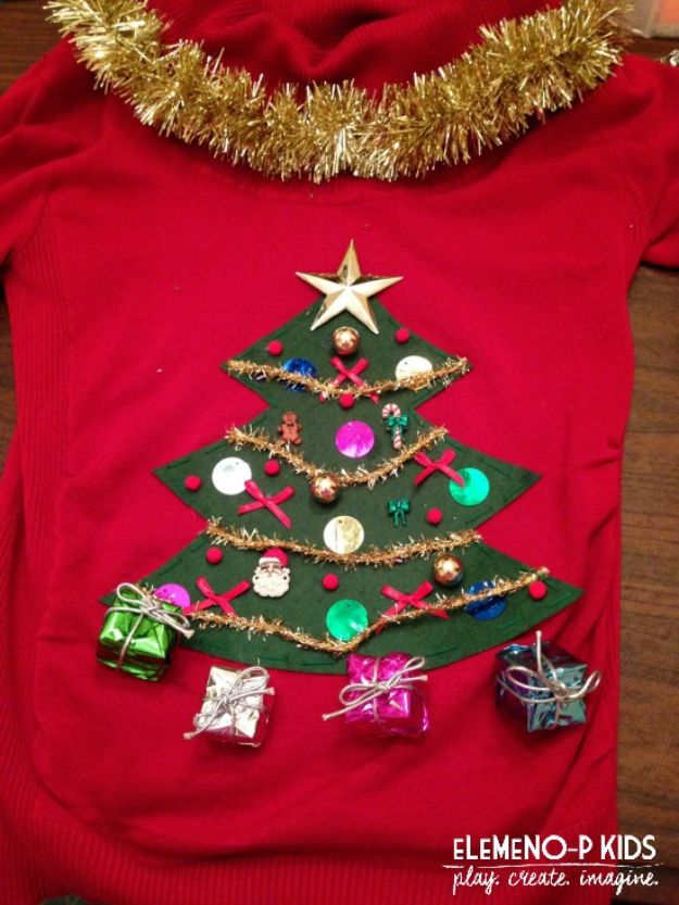 DIY Ugly Christmas Sweaters - Tree and Goodies Ugly Christmas Sweater - No Sew and Easy Sewing Projects - Ideas for Him and Her to Wear to Holiday Contest or Office Party Outfit - Funny Couples Sweater, Mens Womens and Kids #christmas