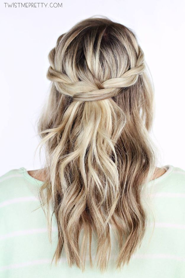 Easy Holiday Hairstyles - Twisted Crown Braid - Day to Night Holiday Hair - Cute DIY Hair Styles for Christmas and New Years Eve