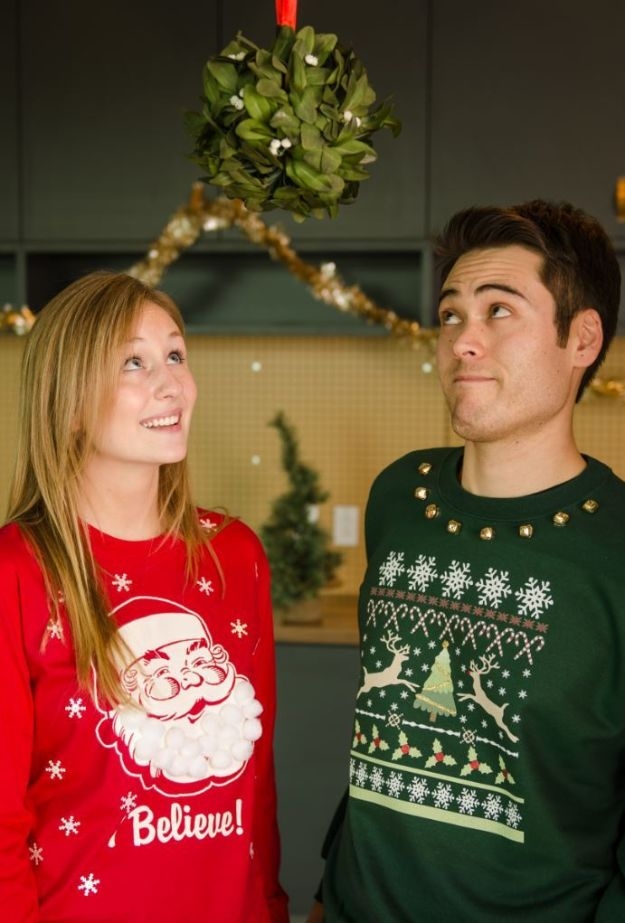 DIY Ugly Christmas Sweaters -Ugly Christmas Sweater For Couples - No Sew and Easy Sewing Projects - Ideas for Him and Her to Wear to Holiday Contest or Office Party Outfit - Funny Couples Sweater, Mens Womens and Kids #christmas