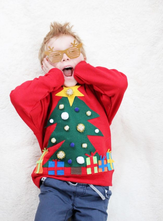 DIY Ugly Christmas Sweaters - Ugly Christmas Sweater For Kids - No Sew and Easy Sewing Projects - Ideas for Him and Her to Wear to Holiday Contest or Office Party Outfit - Funny Couples Sweater, Mens Womens and Kids #christmas