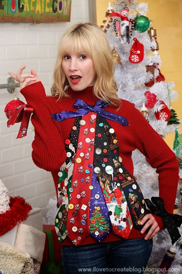 DIY Ugly Christmas Sweaters - Ugly Tie Christmas Tree Sweater - No Sew and Easy Sewing Projects - Ideas for Him and Her to Wear to Holiday Contest or Office Party Outfit - Funny Couples Sweater, Mens Womens and Kids #christmas