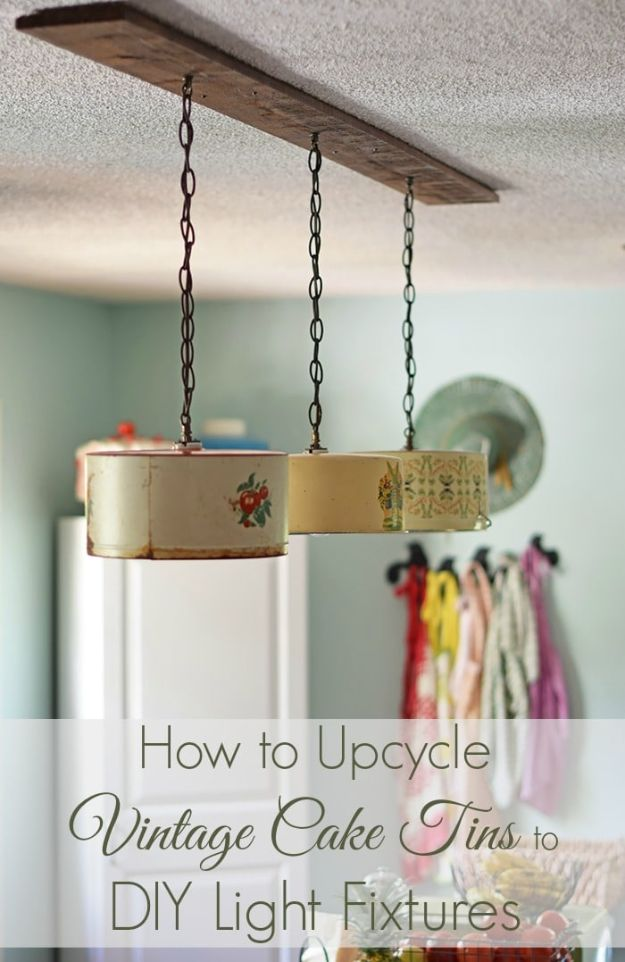 DIY Lighting Ideas - Upcycle Vintage Cake Tins to DIY Light Fixtures - Indoor Lighting for Bedroom, Kitchen, Bathroom and Home - Outdoor Do It Yourself Lighting Ideas for the Backyard, Patio, Porch Lights, Chandeliers, Lamps and String Lights https://diyjoy.com/diy-lighting-projects