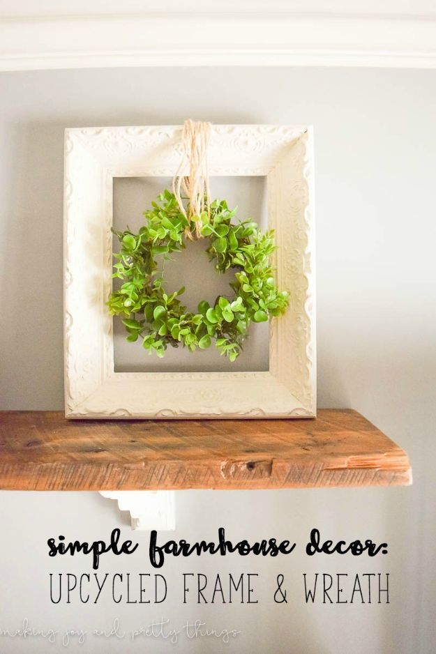 Magnolia Homes Decor Ideas - Upcycled Frame and Wreath - DIY Decor Inspired by Chip and Joanna Gaines - Fixer Upper Dining Room, Coffee Tables, Light Fixtures for Your House - Do It Yourself Decorating On A Budget With Farmhouse Style Decorations for the Home http://diyjoy.com/magnolia-homes-decor-ideas