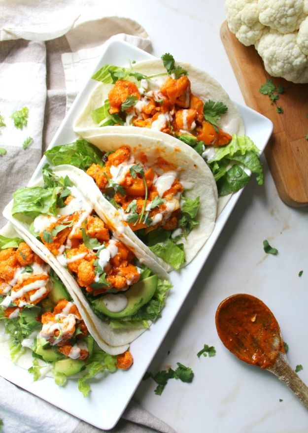 Vegan Recipes - Vegan Buffalo Cauliflower Tacos - Easy, Healthy Plant Based Foods - Gluten Free Breakfast, Lunch and Dessert - Keto Diet for Beginners  #vegan #veganrecipes