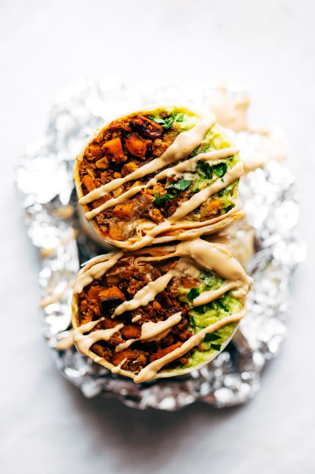 Vegan Recipes - Vegan Mega Burritos - Best Vegan Recipe Ideas - Easy, Healthy Plant Based Foods - Gluten Free Breakfast, Lunch and Dessert - Keto Diet for Beginners https://diyjoy.com/vegan-recipes