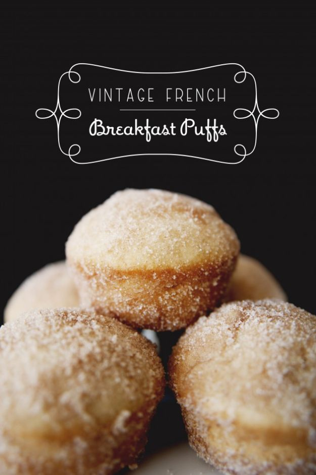 Breakfast Breads - Vintage French Breakfast Puffs - Homemade Breakfast Bread Recipes - Healthy Fruit, Nut, Banana and Vegetable Recipe Ideas - Best Brunch Dishes