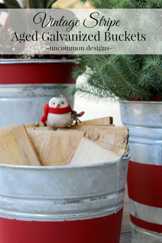 DIY Christmas Decorations - Vintage Stripe Aged Galvanized Buckets - Easy Handmade Christmas Decor Ideas - Cheap Xmas Projects to Make for Holiday Decorating - Home, Porch, Mantle, Tree, Lights #diy #christmas #diydecor #holiday