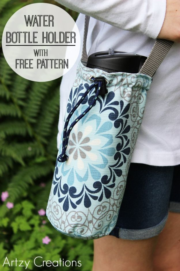 Easy Sewing Projects To Sew For Gifts - Water Bottle Holder - Simple Sewing Tutorials and Free Patterns for Making Christmas and Birthday Presents - Cheap Ideas to Make and Sell on Etsy