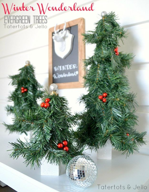 DIY Christmas Decorations - Winter Wonderland Evergreen Trees DIY - Easy Handmade Christmas Decor Ideas - Cheap Xmas Projects to Make for Holiday Decorating - Home, Porch, Mantle, Tree, Lights #diy #christmas #diydecor #holiday