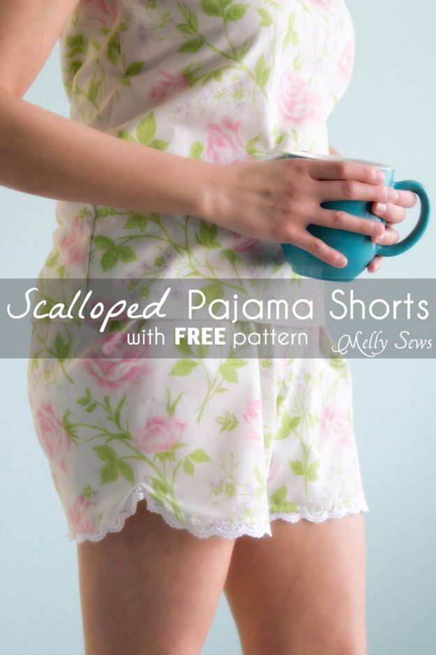 DIY Nightgowns and Sleepwear - Women's Pajama Shorts - Easy Sewing Projects for Cute Nightshirts, Tshirts, Gowns and Pajamas - Free Patterns and Step by Step Tutorials #womensclothing #sleepwear #diyclothes #sewing